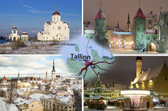 Zimy Tallinn kolaż Fotografia Royalty Free