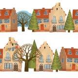 Zimy ulica dekoruje na wakacje Dwa bezszwowej granicy o małym zimy miasteczku royalty ilustracja