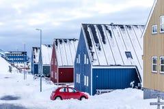 Zimy ulica w Arktycznym kapitałowym Nuuk mieście, Greenland Obrazy Royalty Free