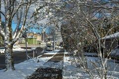 Zimy ulica w obszarze zamieszkałym Obrazy Royalty Free