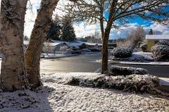 Zimy ulica w obszarze zamieszkałym Obraz Royalty Free