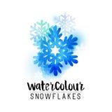 Zimy watercolour abstrakcjonistyczni płatki śniegu ilustracji