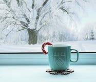 Zimy wciąż życie - filiżanka z cukierek trzciną na windowsill i zimy krajobrazowy outside, zima skład obrazy royalty free