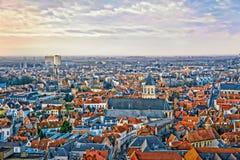 Zimy widok z lotu ptaka na starym miasteczku Bruges & x28; Brugge& x29; Obraz Stock