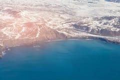 Zimy widok z lotu ptaka seacoast Iceland Zdjęcie Royalty Free