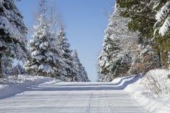 Zimy wiejska droga Zdjęcie Royalty Free