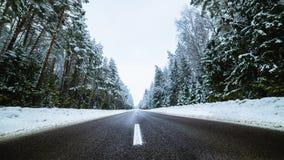 Zimy wiejska droga z jedlinowym lasem na stronie Zdjęcia Stock