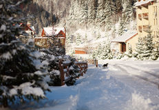 Zimy wiejska krajobrazowa śnieżna ulica w górach Zdjęcie Stock