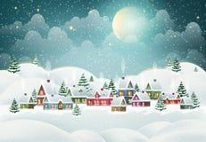 Zimy wioska w sosnowym lesie ilustracja wektor