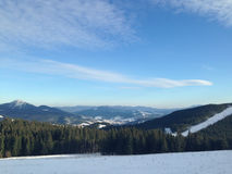 Zimy wioski śnieg Śnieżny dach Obraz Stock