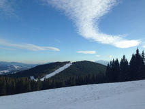 Zimy wioski śnieg Śnieżny dach Obrazy Stock