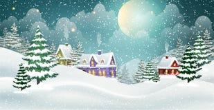 Zimy wioski krajobraz ilustracja wektor