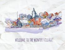 Zimy wioski nakreślenie dla kartki bożonarodzeniowa lub sztandaru, graficzny illustratiom Obraz Royalty Free