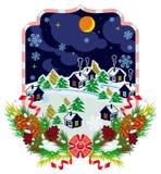 Zimy wioski nocy krajobraz Las, płatki śniegu, sosny gałąź, konusuje Zdjęcia Stock