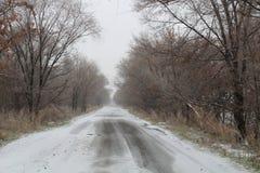 Zimy wsi droga Obraz Royalty Free