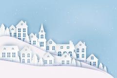 Zimy wsi miastowy krajobraz, wioska z ślicznymi papierowymi domami royalty ilustracja