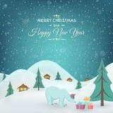 Zimy wsi niedźwiedzia polarnego prezentów Xmas nowy rok Zdjęcia Stock