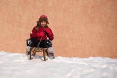Zimy zabawa na saniu Obrazy Royalty Free