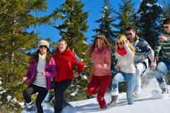 Zimy zabawa z młodzi ludzie grup zdjęcie stock