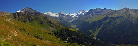 Zinal Valley and Imperial Crown. The Zinal Valley with a view on several high peak: Bishorn (4153m), Obergabelhorn (4063m), Matterhorn (4478m), Zinal Peak (3789m Royalty Free Stock Images
