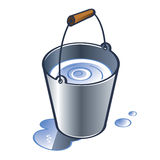 Zinc Bucket. With wooden handle water drops Royalty Free Stock Photography