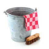 Zinc bucket with cleaning brush stock photos
