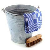 Zinc bucket with cleaning brush Stock Photo