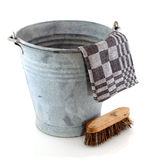 Zinc bucket with cleaning brush Stock Photography