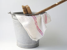 Zinc bucket with cloth and floorbrush Royalty Free Stock Image