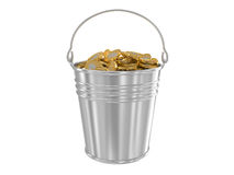 Zinc bucket with golden coins Stock Photography