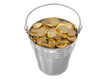 Zinc bucket with golden coins Royalty Free Stock Images