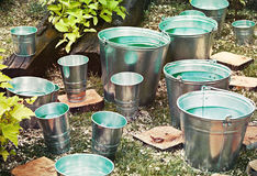 Zinc bucket of water Royalty Free Stock Images
