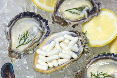 Zinc capsule supplementary  food oyster seafood lemon Royalty Free Stock Photo