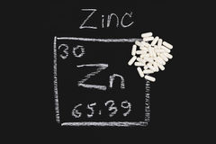 Zinc capsule supplementary  food  periodic  table vitamin Stock Photo