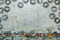 Zinc coated galvanized steel metal sheet plate with bolts Stock Photo