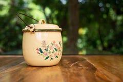 Zinc coated handle pot. stock photos