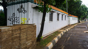 Zinc container fence for covering construction area and a mound of bricks photo taken in Jakarta Indonesia Stock Photography