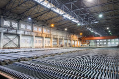 Zinc electrowinning workshop. Closeup in lead and zinc smelter Stock Image