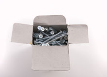 Zinc plated wood screws in cardborad box Royalty Free Stock Photo