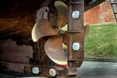 Zinc sacrificial corrosion blocks. Zinc sacrificial corrosion blocks fitted to hull and rudder of inshore fishing vessel royalty free stock images