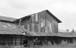 Zinc wall rusty corrugated metal thailand ancient home decay nature. Black and white tone Royalty Free Stock Photography