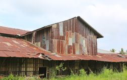 Zinc wall rusty corrugated metal thailand ancient home decay nature.  Stock Photography