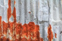 Zinc wall texture pattern background rusty corrugated metal old decay.  Stock Images