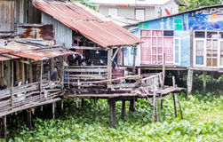 Zinc and wood house on river Royalty Free Stock Photos