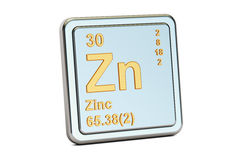 Free Zinc Zn, Chemical Element Sign. 3D Rendering Stock Images - 88943524