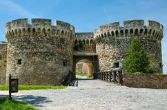 Zindan Gate of Kalemegdan fortress,Serbia. Zindan Gate is the middle southeastern gateof Belgrad Fortresss, between two round towers. The Ottoman Empire used Stock Photography