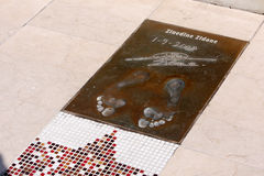 Zinedine Zidane's footprints. On the Champion's Promenade in Montecarlo (Monaco), Europe, where there are various footprints of great champions of soccer. Every Stock Image