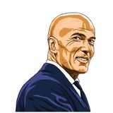 Zinedine Zidane Zizou Vetora Illustration Portrait Madri, o 20 de julho de 2018 ilustração do vetor