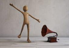 Zing en dans in een ruimte luisterend gestileerd retro 3D Illustratie Royalty-vrije Stock Afbeeldingen