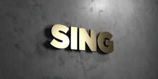 Zing - Gouden teken opgezet op glanzende marmeren muur - 3D teruggegeven royalty vrije voorraadillustratie vector illustratie